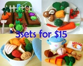 DIY Felt vegetable set(Conbine 3 sets at Special Price)-PDF Pattern and instructions Via Email--T06,F12,F21