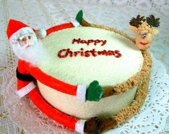 Felt Christmas fondant cake(Santa Claus,reindeer,felt cake,Happy Christmas)--F02