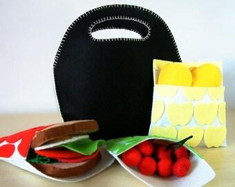 DIY Felt cool handbag,Sandwich,potato chips,tomato salad--PDF Pattern via Email--F18