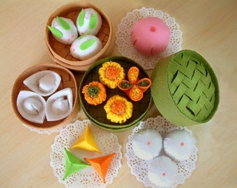 DIY Felt Chinese sweets and steamer set--PDF Pattern via Email--F07