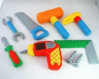 DIY Felt ToolBox(toolbox,Drill,Screwdriver,wrench,screw,Saws,Square,Hammer)-PDF Pattern via Email-T09