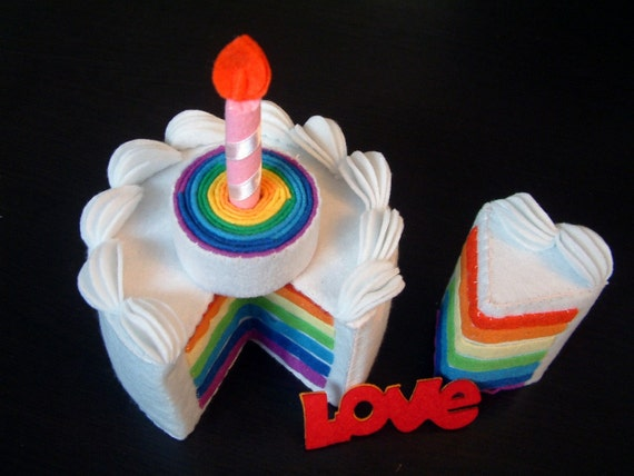 play food-DIY felt rainbow cake(double tiers)---PDF Pattern-F30