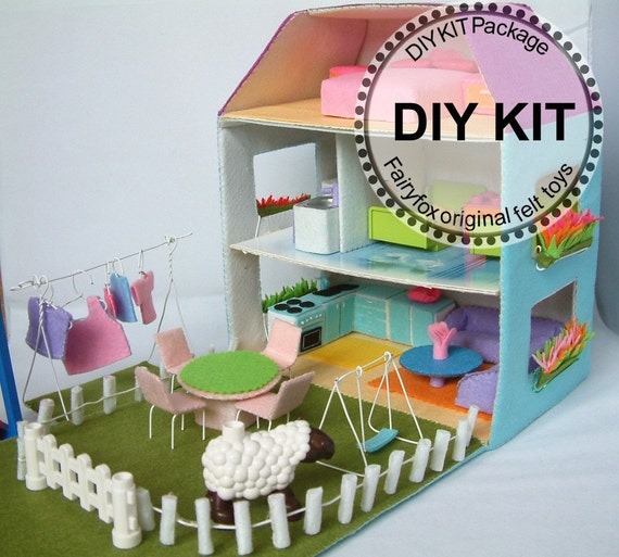 DIY felt Dollhouse and furnitures KIT Package--K-T14,T15