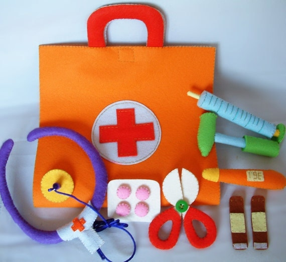 New diy felt medical bag doctor set pdf pattern via email t22 for Doctor bag craft template