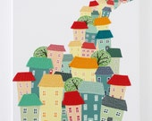 City living - stitched cityscape canvas print