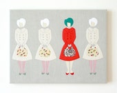 I was different... Textiles illustration, women's art, ready to hang, present, gift for mother, mum, grandmother, sister, girlfriend