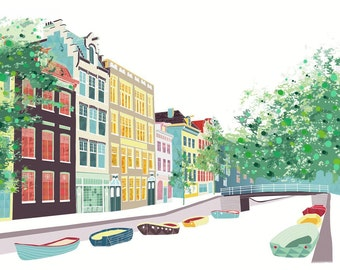 Amsterdam Skyline print, BloemGracht, Wall Art Print, Canal and Boat, Paper Poster Home, Office, Childs, Kids room and Nursery decor ASBPP01