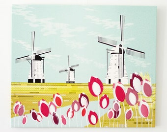Dutch Windmills and Tulips, Large Canvas Framed Wall Art, Landscape Print Illustration, Holland, Home Decor, Nursery Print, Pink Pastel