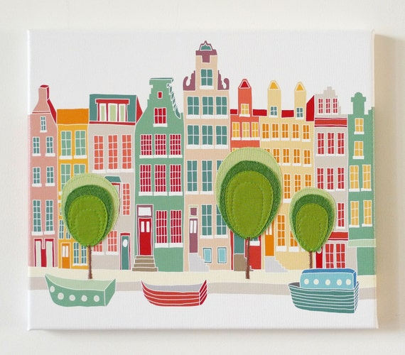 Canal houses - Stitched cityscape canvas print