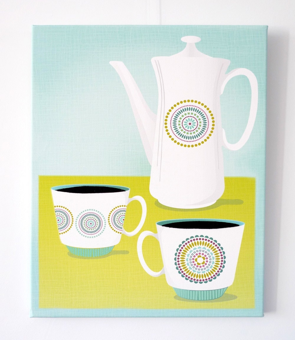 Kitchen art coffee break time canvas wall art framed by - Kitchen canvas wall decor ...