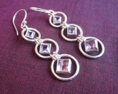 Awesome silver Amethyst Dangle Earrings / silver 925 / 2.1 inches long / Bali handmade jewelry