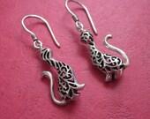 Awesome Sterling Silver Cat Dangle Earrings / silver 925/ Bali Handmade jewelry / Cat earrings