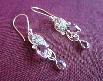 Awesome 925 Sterling Silver leaf Dangle Earrings / Amethyst / Bali silver handmade jewelry.