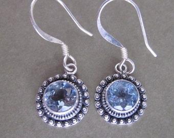 Bali Sterling Silver 925 Blue Topaz Dangle Earrings / 1 inch long / silver topaz earrings / (#113K)