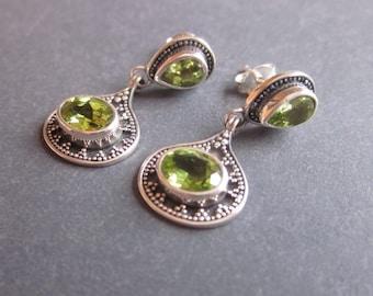 Balinese Sterling Silver Peridot stud Earrings / silver 925 / Bali handmade jewelry / 1 inch long / granulation art / (#206K)