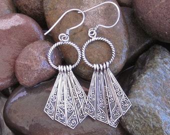 Awesome 2.50 inch Sterling Silver Tribal style Dangle Earrings / Bali handmade jewelry /silver 925