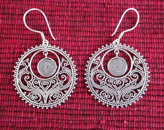 Balinese handmade Silver 925 Circle Dangle Earrings / 1.8 inch / sterling silver / handmade jewelry.