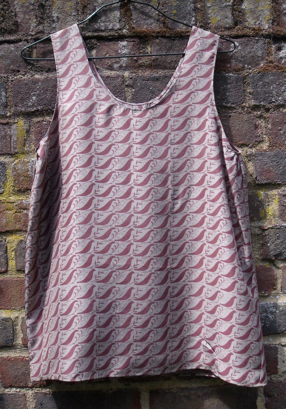 SALE * Bird Print Silk Top Vest