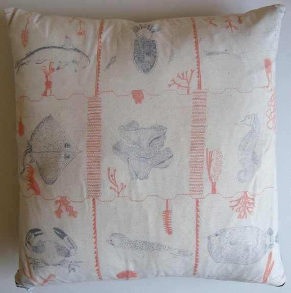 Sale**Blue Planet Sealife plain backed cotton cushion pillow