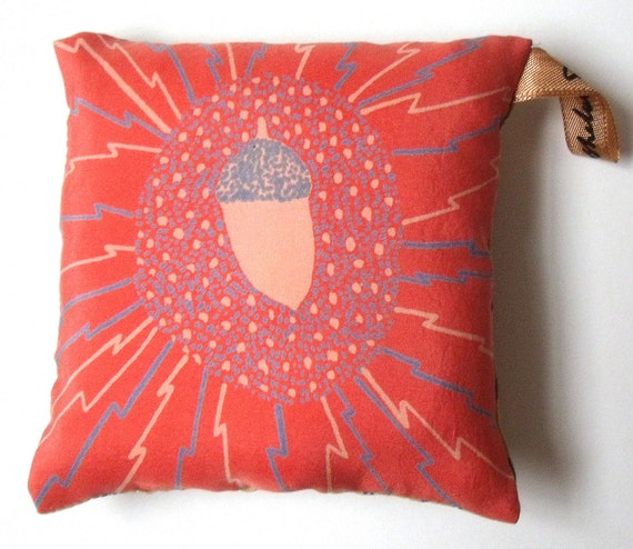 SALE**Acorn and Lightning Hand Screen Printed Silk Pincushion