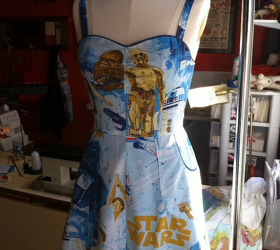 Upcycled Star Wars Pin UP Dress Light Blue OOAK