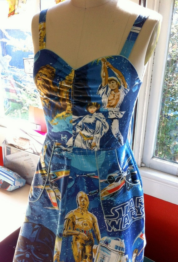 Original Star Wars Pin Up Apron Cut Dress- Upcycled OOAK