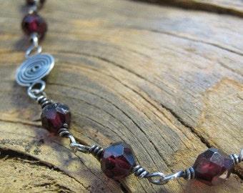 Red Garnet Sterling Silver Bracelet and Earring set