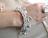Charm bracelet white silver cameo by RedBracelet on Etsy