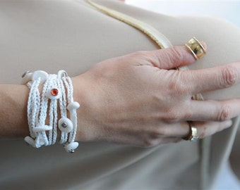 bride bracelet - white charms - LUCKY WEDDING - karmatic for bridesmaid too