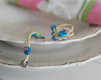 Brides NEW AND BLUE vanilla bracelet turquoise and saphirre lucky charms cameos