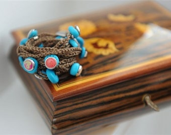 Kabbalah bracelet or necklace fashion extra loops rusty brown turquoise lucky charms The longest piece 180 CM 8-9 loops around the wrist