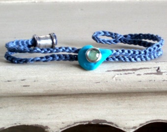 UNISEX bracelet for him and for her with lucky turquoise garlic amulet- something new and blue for a bride too