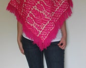Pink and White Bird Poncho - Mexico