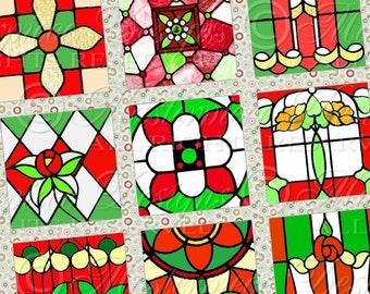Christmas Stained Glass / Reds and Greens - Printable 1x1 Inch Square Tiles Instant Download Digital JPG Collage Sheet