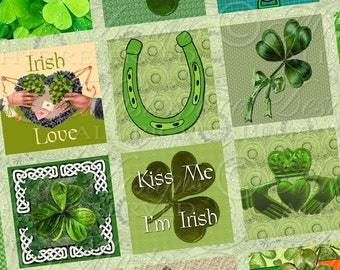Proud To Be Irish Printable Squares / Shamrocks / St. Patrick's Day / Ireland - Download Printable One Inch Square Designs JPG Collage Sheet
