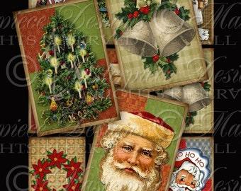 A Vintage Christmas / Santa Christmas Tree Wreath Stocking Bells - Printable Gift Tags/Hang Tags Instant Download and Print Digital Sheet