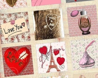 It Must Be Love / Hearts / Valentine's Day - Printable INSTANT DOWNLOAD 1x1 Inch Square Tiles Digital JPG Collage Sheet