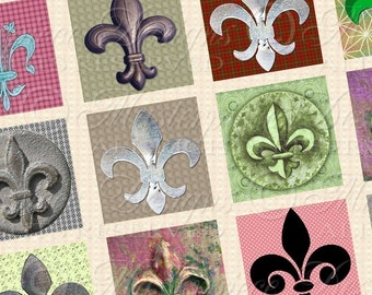Fleur De Lis Printable Squares / French Heraldry / Symbol / Decorative / Flower / Lily - DOWNLOAD 1x1 Inch Squares JPG Collage Sheet