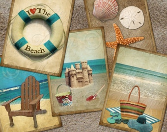 At The Beach / Ocean / Seashore Vintage Designs - Printable 2.5x3.5 Inch Designs Hang Tags, Instant Download and Print Digital Sheet