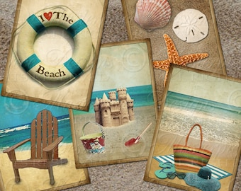 At The Beach Printable Hang Tags / Ocean / Seashore Vintage Designs - Printable 2.5x3.5 Inch Tags, Instant Download and Print Collage Sheet