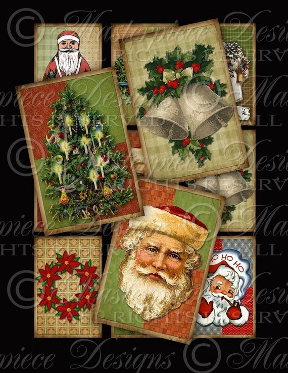 A Vintage Christmas - Gift Tags/Hang Tags Download and Print Digital Sheet