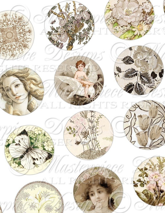 Charming Creme / Vintage Designs / Shades of Ivory & White - Forty Eight 1 Inch  Round Images Digital JPG Collage Sheet