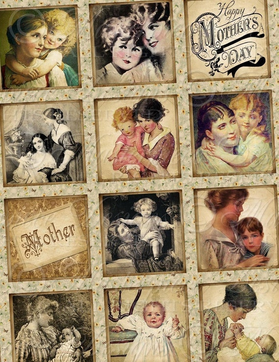 Motherhood / Mother / Mom / Mother's Day - 1x1 Inch Square Tiles Digital JPG Collage Sheet
