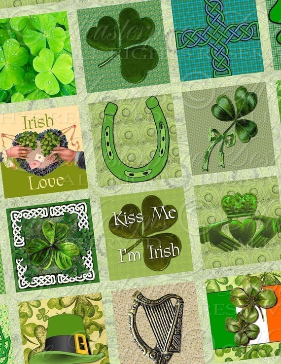 Proud To Be Irish / St. Patrick's Day / Shamrocks / Leprechauns - 1x1 Inch Square Tiles Digital JPG Collage Sheet