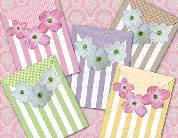 Dogwood Blossoms / Pastel Stripes - ATC, ACEO, Hang Tags, Download and Print Digital Sheet