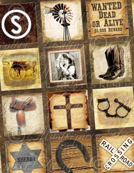 The Old West - Cowboy - 1x1 Inch Square Tiles Digital JPG Collage Sheet