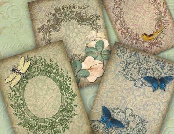 Vintage Elegance / Ornate Frames / Flowers / Butterflies - ATC ACEO Tags, Download and Print Digital Sheet