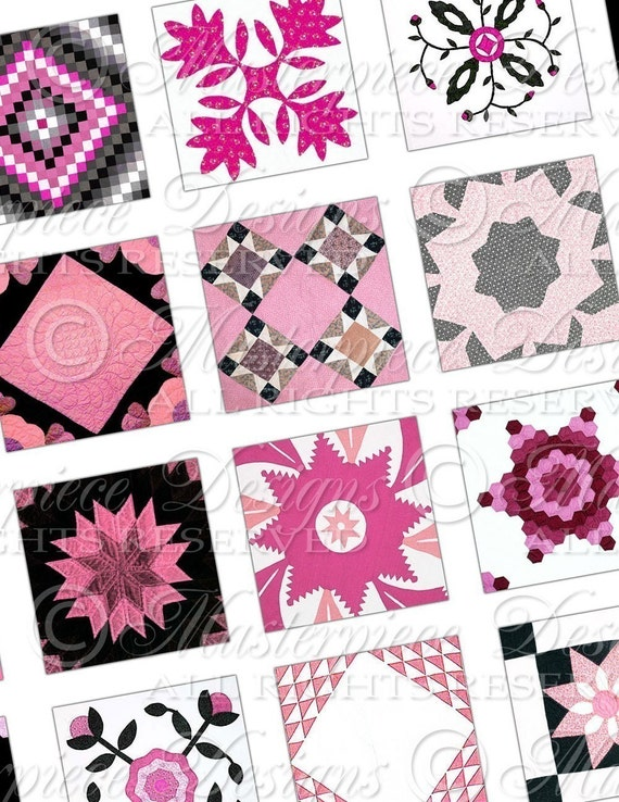 Quilt Squares - Pink and Black- 1x1 Inch Square Tiles Digital JPG Collage Sheet
