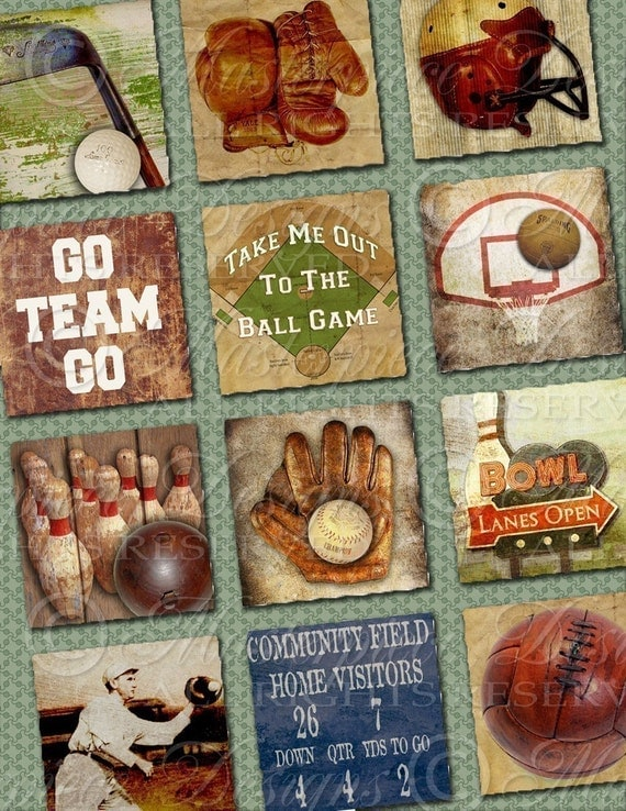 Sports Vintage / Football / Baseball / Basketball / Others - 1x1 Inch Square Tiles Digital JPG Collage Sheet