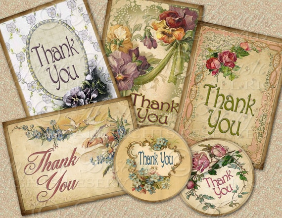 "Thank You Tags / Hang Tags - Mixed 2.5""x3.5"" Rectangle and 2.5"" Round designs / Download and Print Digital Sheet"